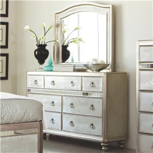 Dresser with 7 Drawers and Stacked Bun Feet and Mirror Set