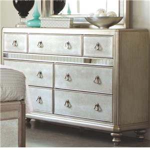 Dresser with 7 Drawers and Stacked Bun Feet