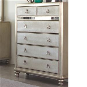 Chest with 6 Drawers and Stacked Bun Feet