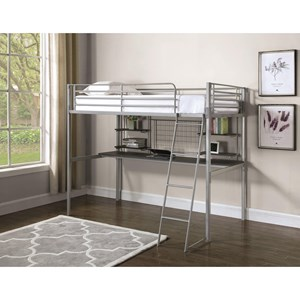 Contemporary Twin Loft Bunk Bed with Workstation