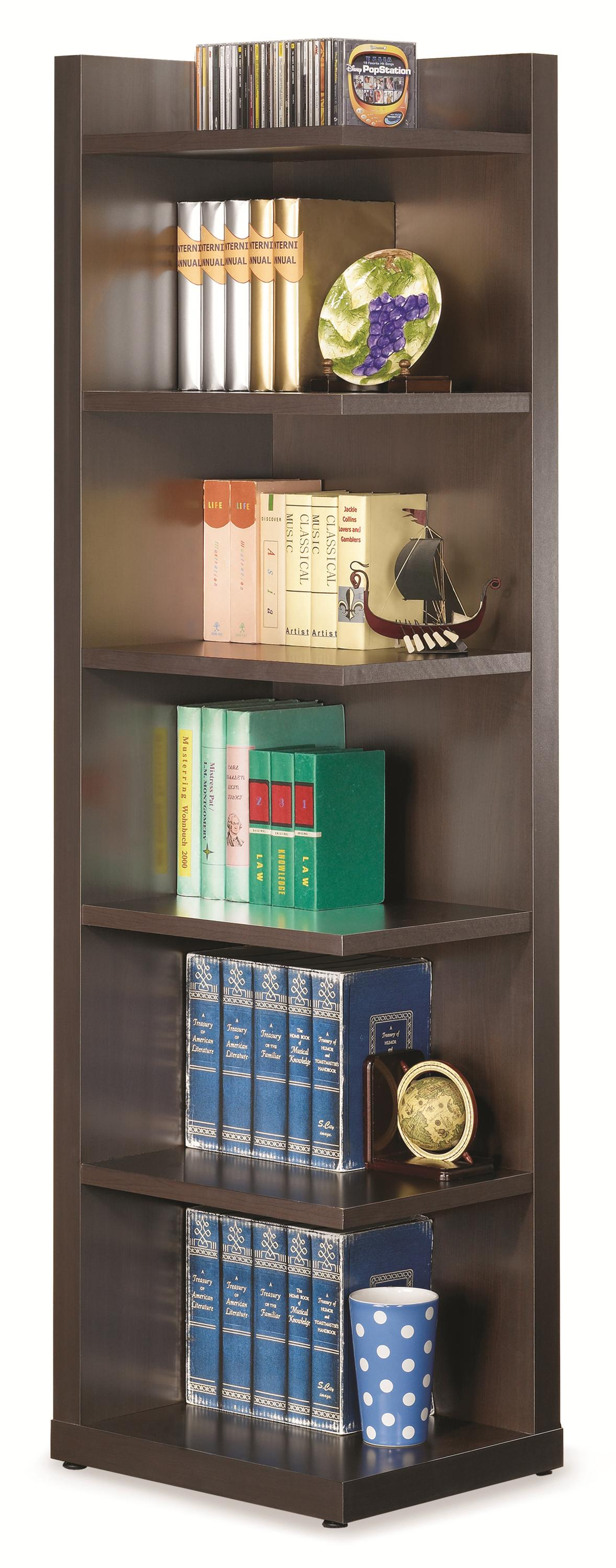 Bookcases Corner Bookcase by Coaster at Northeast Factory Direct