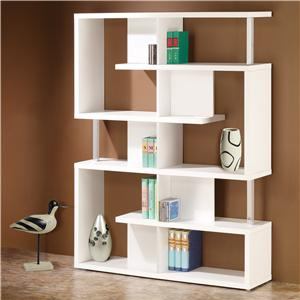 Modern White Finish Bookcase