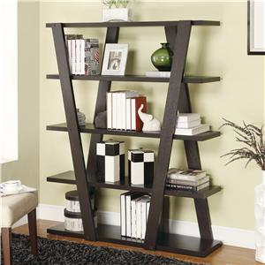 Modern Bookshelf with Inverted Supports & Open Shelves