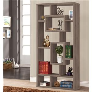Weathered Grey Geometric Cubed Rectangular Bookcase