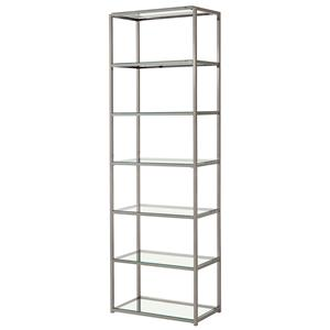 Contemporary Metal Bookcase with Glass Shelves