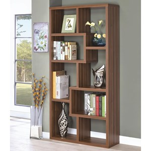 8 Shelf Staggered Bookcase