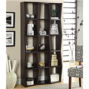 Contemporary Bookshelf with Asymmetrical Shelves