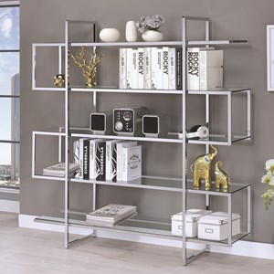 Contemporary Metal and Glass Bookcase