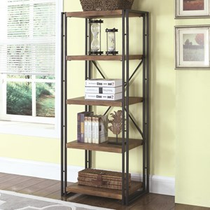 Narrow Industrial Metal and Wood Bookcase