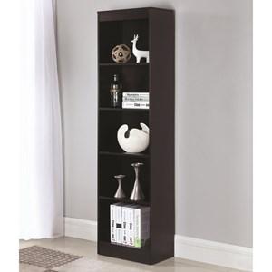 5 Shelf Narrow Transitional Bookcase