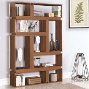 Modern Geometric Bookcase with Light Walnut Finish