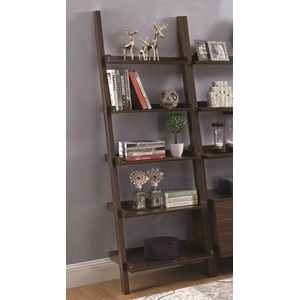 5 Shelf Ladder Bookcase with Dark Walnut Finish