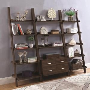 Ladder Bookcase Set with Dark Walnut Finish
