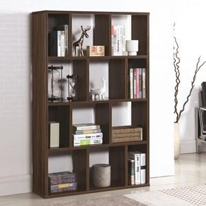12 Shelf Bookcase with Dark Walnut Finish