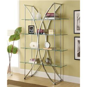 X-Motif Chrome Finish Bookshelf with Floating Style Glass Shelves