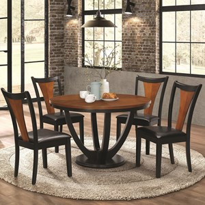 Contemporary 5 Piece Table and Chair Set with Two-Tone Finish