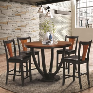 Contemporary 5 Piece Counter Height Table and Chair Set
