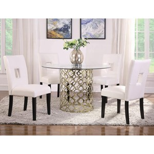 5-Piece Tempered Glass Top Dining Table with Gold Finish Base Set