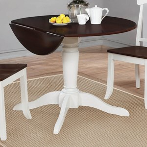 Two-Tone Finish Drop Leaf Dining Table with Single Pedestal Base