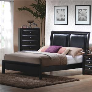 Queen Low Profile Footboard Bed with Upholstered Panel Headboard
