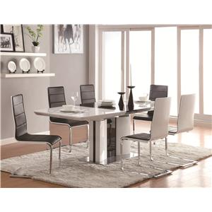 Contemporary 5 Piece White Dining Table Set with Upholstered Dining Chairs and Chrome Base