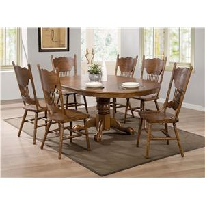 7 Piece Table Set with Oak Finish Round/Oval Table