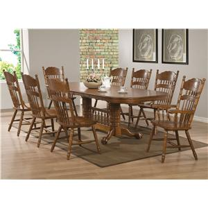 9 Piece Table Set with Oak Finish Oval Trestle Table