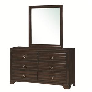6-Drawer Dresser and Rectangular Mirror with Wooden Frame Combination