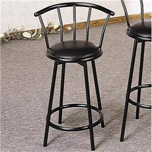 "24"" Metal Bar Stool with Faux Leather Swivel Seat"