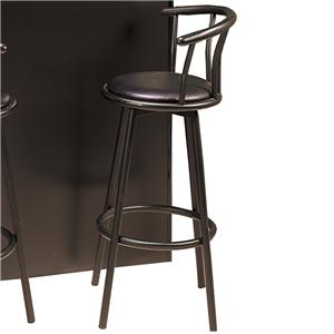"29"" Casual Metal Bar Stool with Faux Leather Swivel Seat"