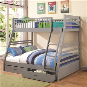 Twin over Full Bunk Bed with 2 Drawers and Attached Ladder