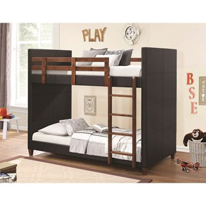Twin-over-Twin Bunk Bed with Black Leatherette