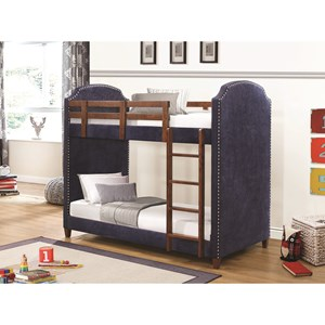 Navy Twin-over-Twin Bunk Bed with Nailhead Trim