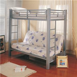 Coaster Bunks Twin Over Futon Bunk Bed with Futon Mattress