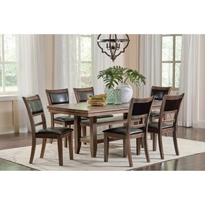 7 Piece Dining Table Set with 2 Open Shelves