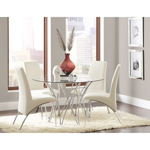 Contemporary Dining Set with Glass Top Table