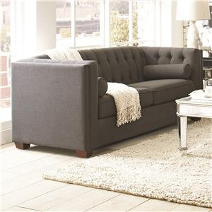 Stationary Sofa with Tufted Back and Lumbar Pillows