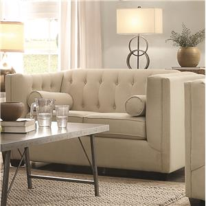 Upholstered Love Seat with Tufting