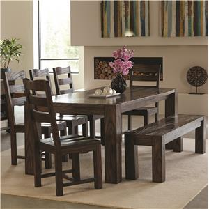 Contemporary 7 Piece Table & Chair Set with Wavy Wood Grain