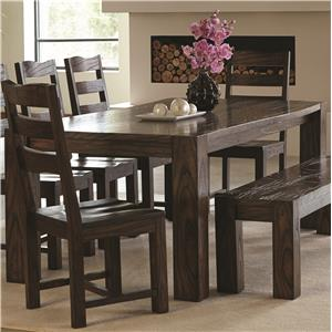 Contemporary Dining Table with Wavy Wood Grain