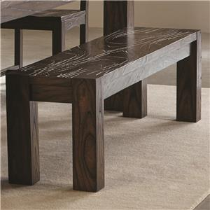 Contemporary Bench with Wavy Wood Grain