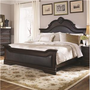 Queen Bed with Upholstered Panels and Shell Carving