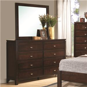 8-Drawer Dresser and Square Mirror Combination