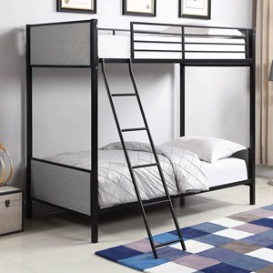 Twin/Twin Bunk Bed with Light Gray Fabric Upholstered Panels