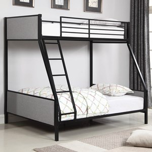 Twin/Full Bunk Bed with Light Gray Fabric Upholstered Panels