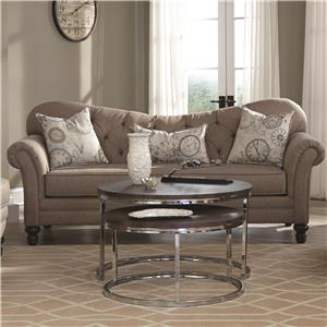 Traditional Sofa with Tufted Reverse Camel Back