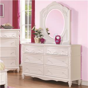 Decorative 6 Drawer Dresser and Mirror Set