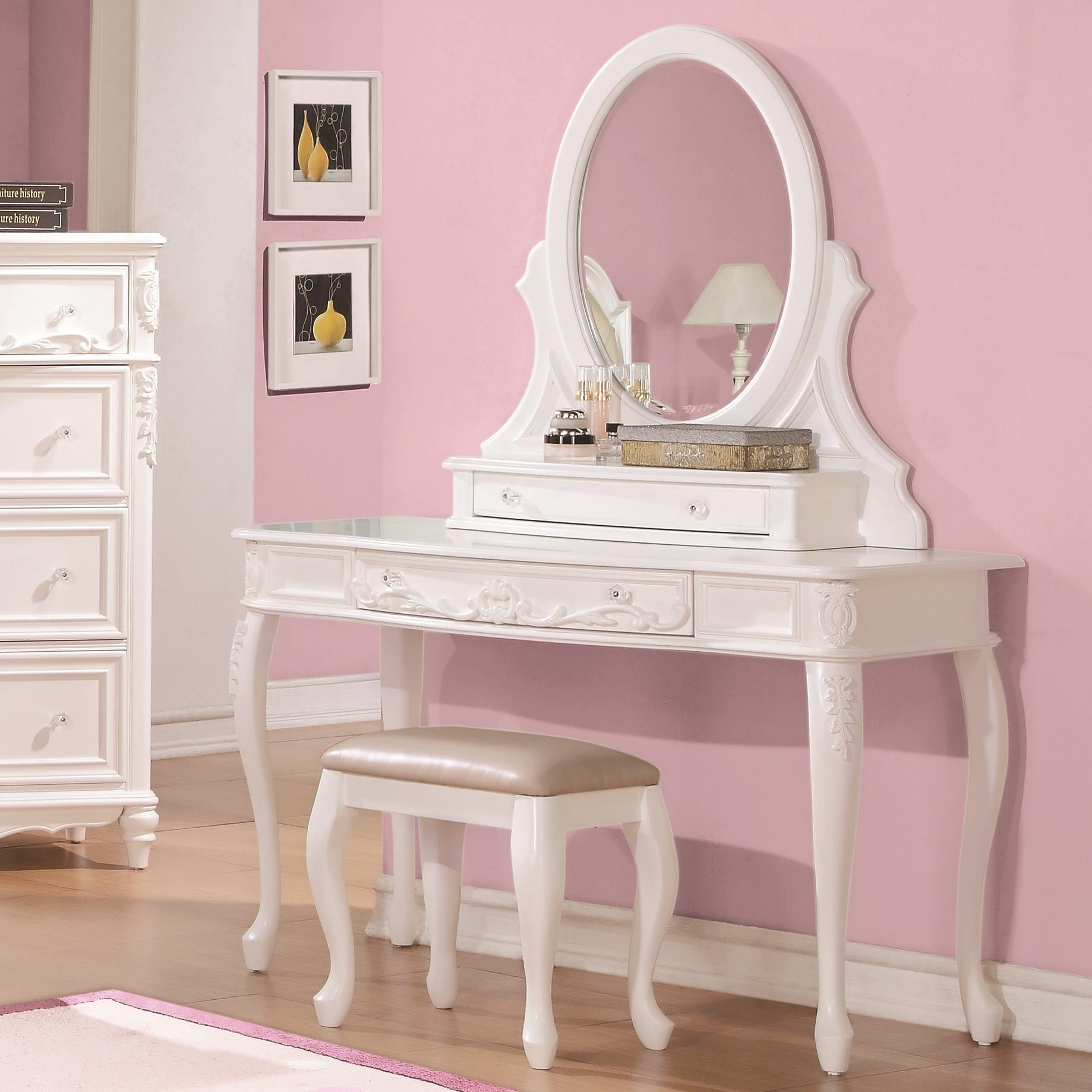 Caroline Vanity Desk and Mirror by Coaster at Northeast Factory Direct