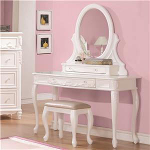 Vanity Desk and Mirror with Cabriole Legs