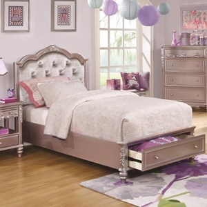 Twin Size Storage Bed with Diamond Tufted Headboard
